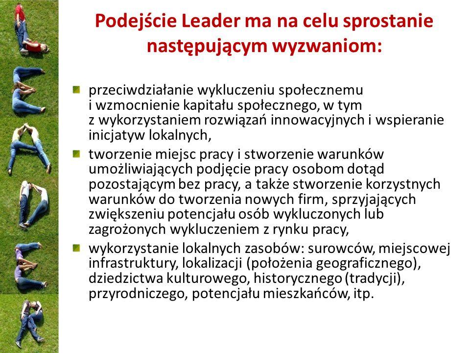 Podejście Leader ma na celu sprostanie następującym wyzwaniom: przeciwdziałanie wykluczeniu społecznemu i wzmocnienie kapitału społecznego, w tym z wy