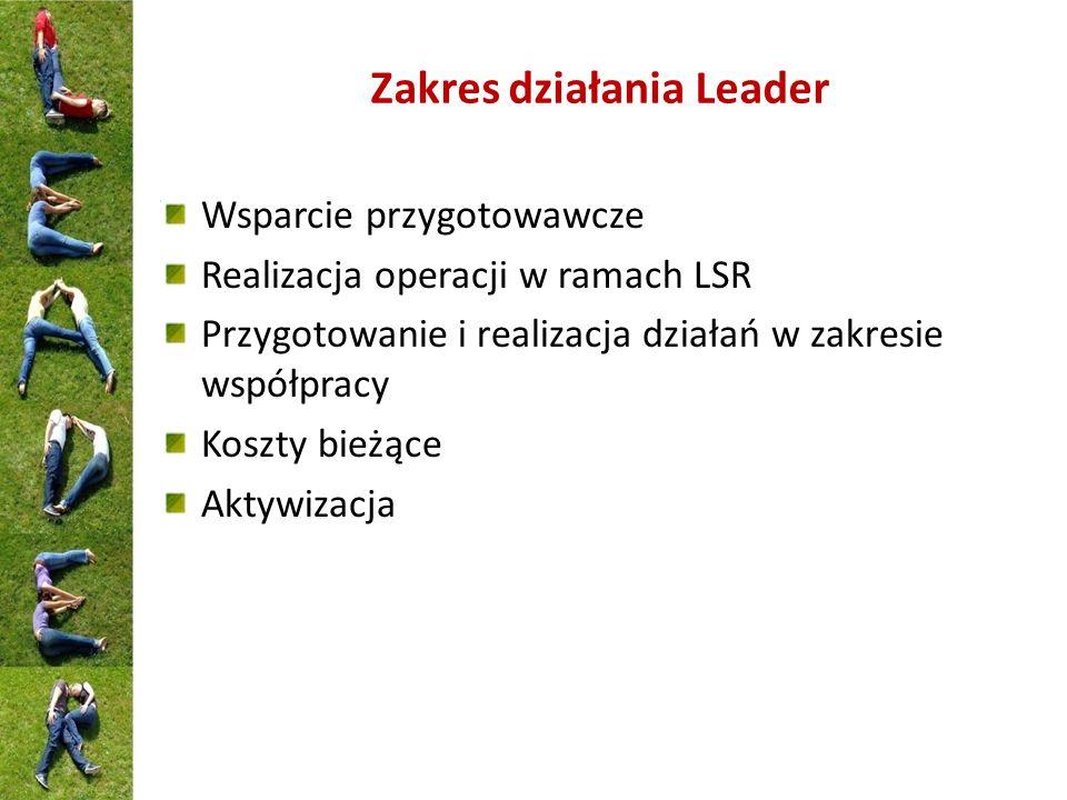 Zakres działania Leader Wsparcie przygotowawcze Realizacja operacji w ramach LSR Przygotowanie i realizacja działań w zakresie współpracy Koszty bieżą