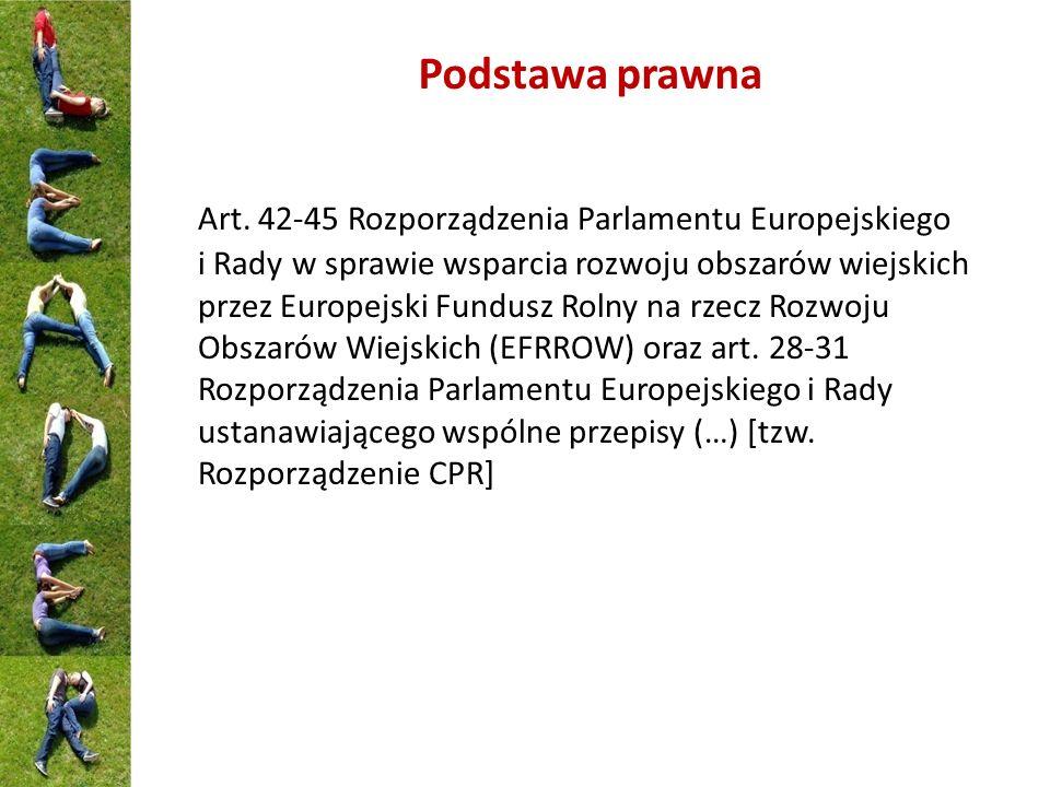 Podstawa prawna Art. 42-45 Rozporządzenia Parlamentu Europejskiego i Rady w sprawie wsparcia rozwoju obszarów wiejskich przez Europejski Fundusz Rolny