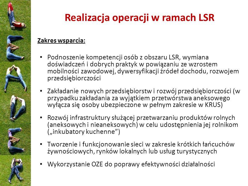 Realizacja operacji w ramach LSR Zakres wsparcia: Podnoszenie kompetencji osób z obszaru LSR, wymiana doświadczeń i dobrych praktyk w powiązaniu ze wz