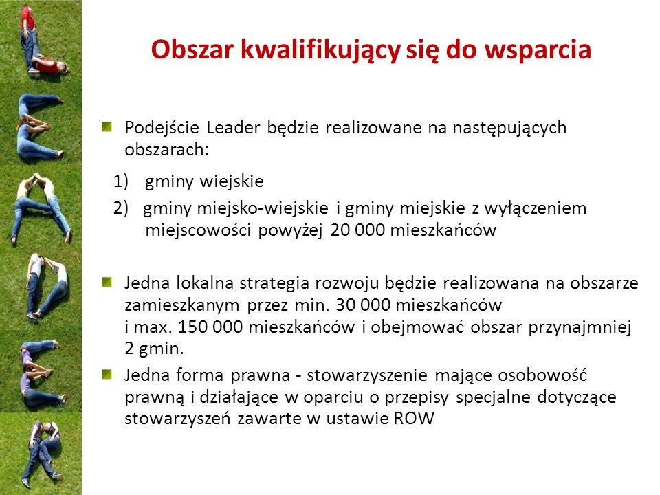 Obszar kwalifikujący się do wsparcia Podejście Leader będzie realizowane na następujących obszarach: 1)gminy wiejskie 2) gminy miejsko-wiejskie i gmin