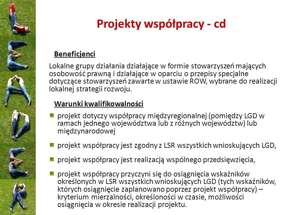 Projekty współpracy - cd Beneficjenci Lokalne grupy działania działające w formie stowarzyszeń mających osobowość prawną i działające w oparciu o prze
