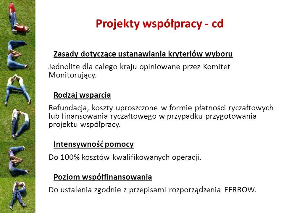 Projekty współpracy - cd Zasady dotyczące ustanawiania kryteriów wyboru Jednolite dla całego kraju opiniowane przez Komitet Monitorujący. Rodzaj wspar