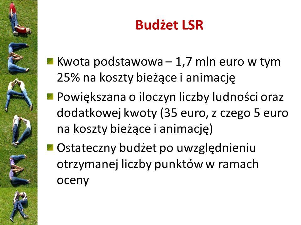 Budżet LSR Kwota podstawowa – 1,7 mln euro w tym 25% na koszty bieżące i animację Powiększana o iloczyn liczby ludności oraz dodatkowej kwoty (35 euro