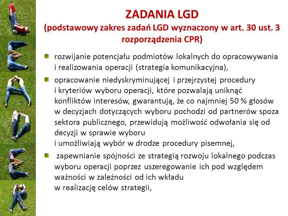 ZADANIA LGD (podstawowy zakres zadań LGD wyznaczony w art. 30 ust. 3 rozporządzenia CPR) rozwijanie potencjału podmiotów lokalnych do opracowywania i