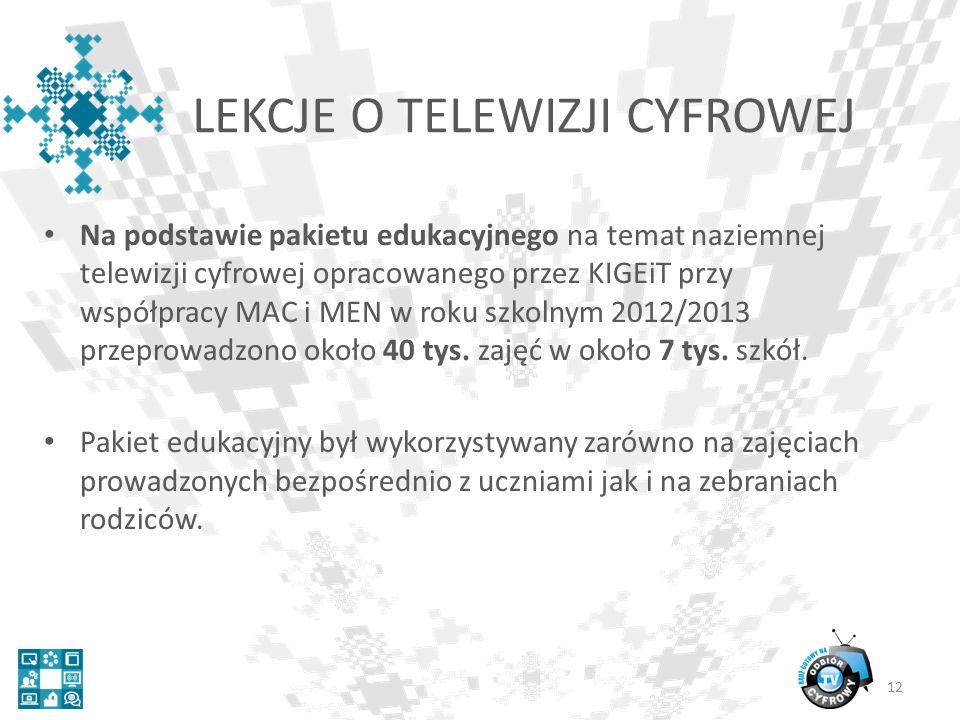 Na podstawie pakietu edukacyjnego na temat naziemnej telewizji cyfrowej opracowanego przez KIGEiT przy współpracy MAC i MEN w roku szkolnym 2012/2013 przeprowadzono około 40 tys.