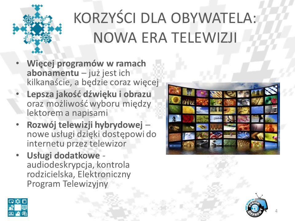KORZYŚCI DLA OBYWATELA: NOWA ERA TELEWIZJI Więcej programów w ramach abonamentu – już jest ich kilkanaście, a będzie coraz więcej Lepsza jakość dźwięku i obrazu oraz możliwość wyboru między lektorem a napisami Rozwój telewizji hybrydowej – nowe usługi dzięki dostępowi do internetu przez telewizor Usługi dodatkowe - audiodeskrypcja, kontrola rodzicielska, Elektroniczny Program Telewizyjny 4