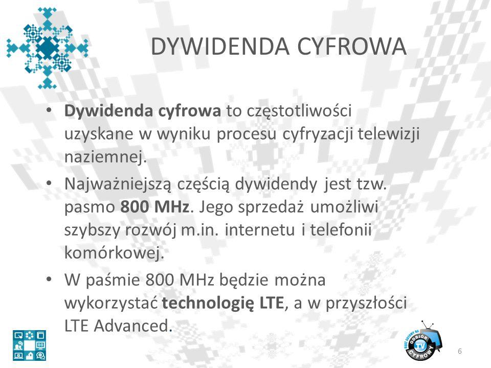 DYWIDENDA CYFROWA Dywidenda cyfrowa to częstotliwości uzyskane w wyniku procesu cyfryzacji telewizji naziemnej.