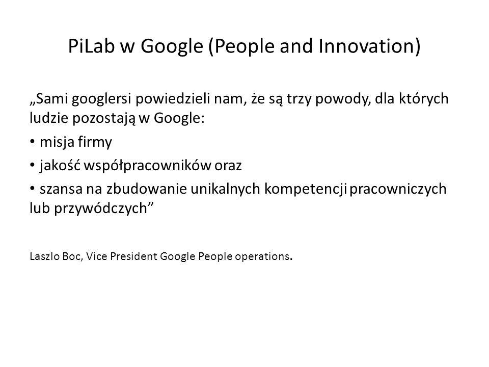 PiLab w Google (People and Innovation) Sami googlersi powiedzieli nam, że są trzy powody, dla których ludzie pozostają w Google: misja firmy jakość współpracowników oraz szansa na zbudowanie unikalnych kompetencji pracowniczych lub przywódczych Laszlo Boc, Vice President Google People operations.