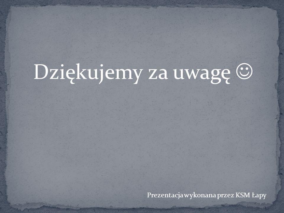 Dziękujemy za uwagę Prezentacja wykonana przez KSM Łapy