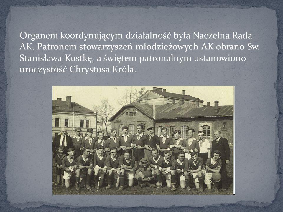 Organem koordynującym działalność była Naczelna Rada AK. Patronem stowarzyszeń młodzieżowych AK obrano Św. Stanisława Kostkę, a świętem patronalnym us