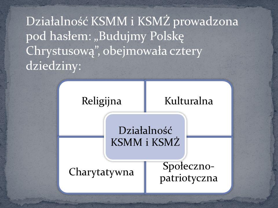 Działalność KSMM i KSMŻ prowadzona pod hasłem: Budujmy Polskę Chrystusową, obejmowała cztery dziedziny: ReligijnaKulturalna Charytatywna Społeczno- pa