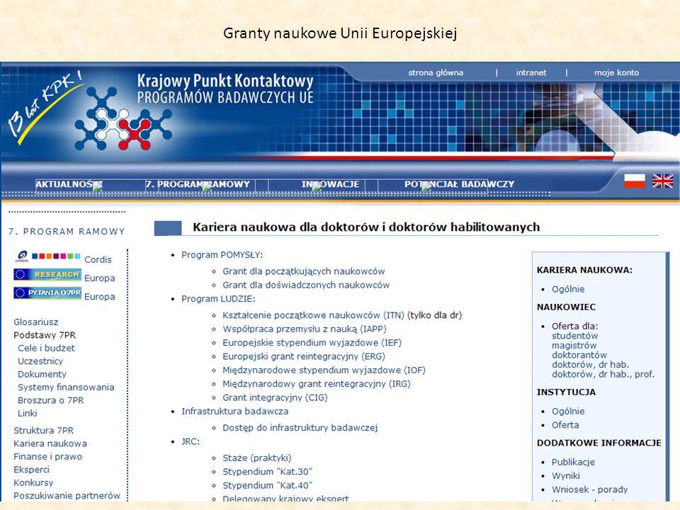 Granty naukowe Unii Europejskiej