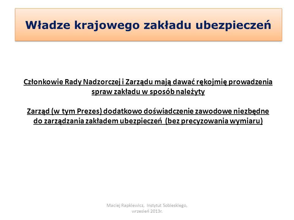 Władze krajowego zakładu ubezpieczeń Maciej Rapkiewicz, Instytut Sobieskiego, wrzesień 2013r. Członkowie Rady Nadzorczej i Zarządu mają dawać rękojmię