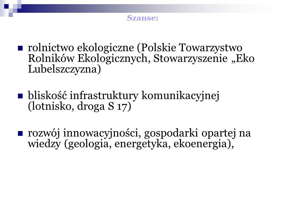 Szanse: rolnictwo ekologiczne (Polskie Towarzystwo Rolników Ekologicznych, Stowarzyszenie Eko Lubelszczyzna) bliskość infrastruktury komunikacyjnej (lotnisko, droga S 17) rozwój innowacyjności, gospodarki opartej na wiedzy (geologia, energetyka, ekoenergia),
