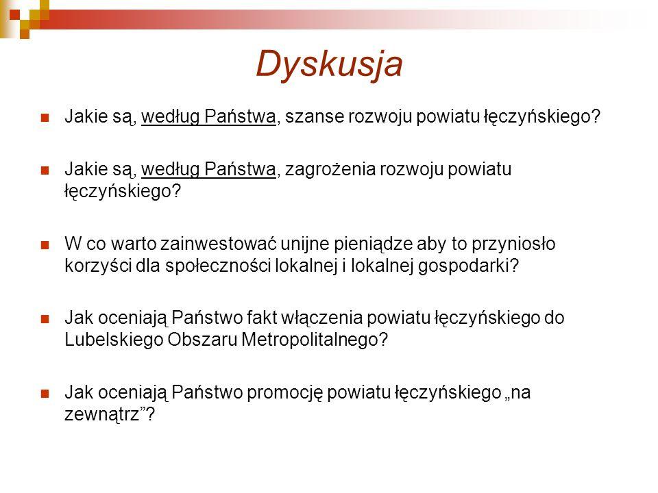Dyskusja Jakie są, według Państwa, szanse rozwoju powiatu łęczyńskiego.