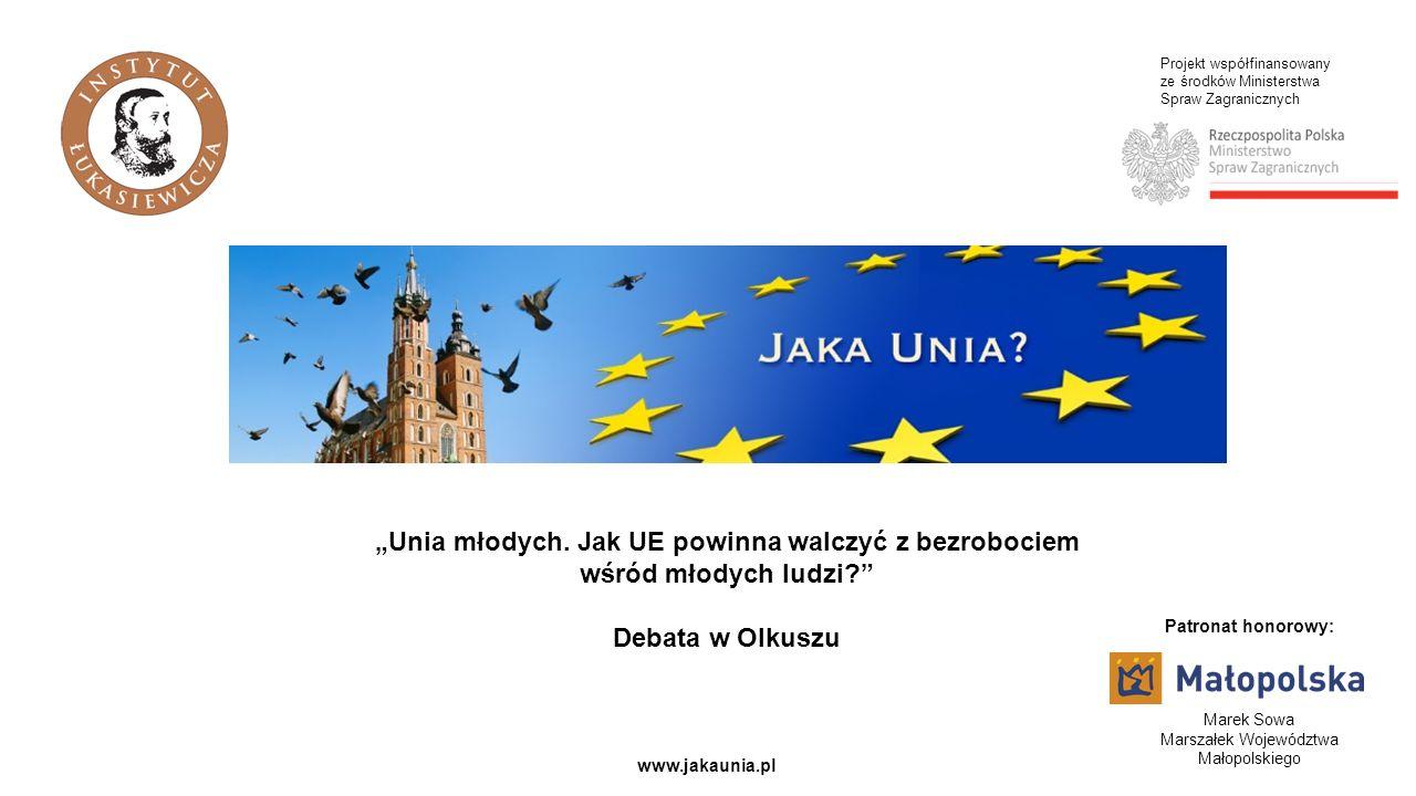 Projekt współfinansowany ze środków Ministerstwa Spraw Zagranicznych www.jakaunia.pl Unia młodych. Jak UE powinna walczyć z bezrobociem wśród młodych