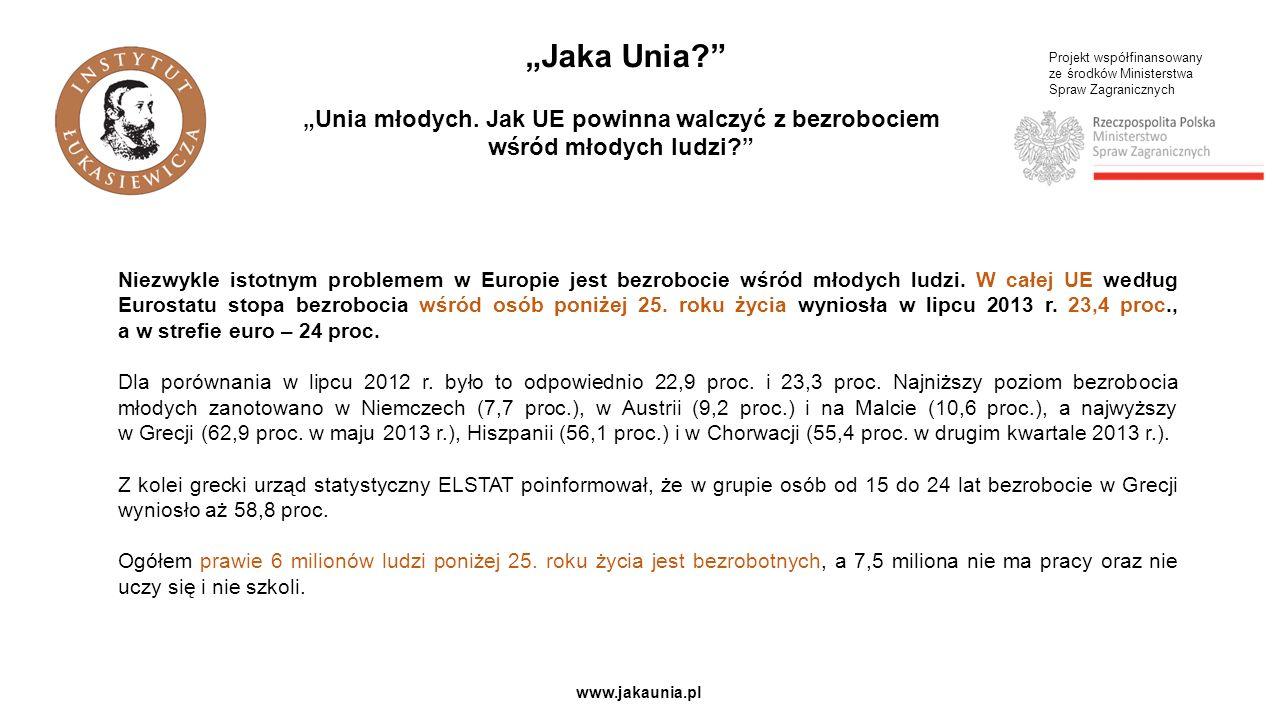 Projekt współfinansowany ze środków Ministerstwa Spraw Zagranicznych www.jakaunia.pl Jaka Unia? Unia młodych. Jak UE powinna walczyć z bezrobociem wśr