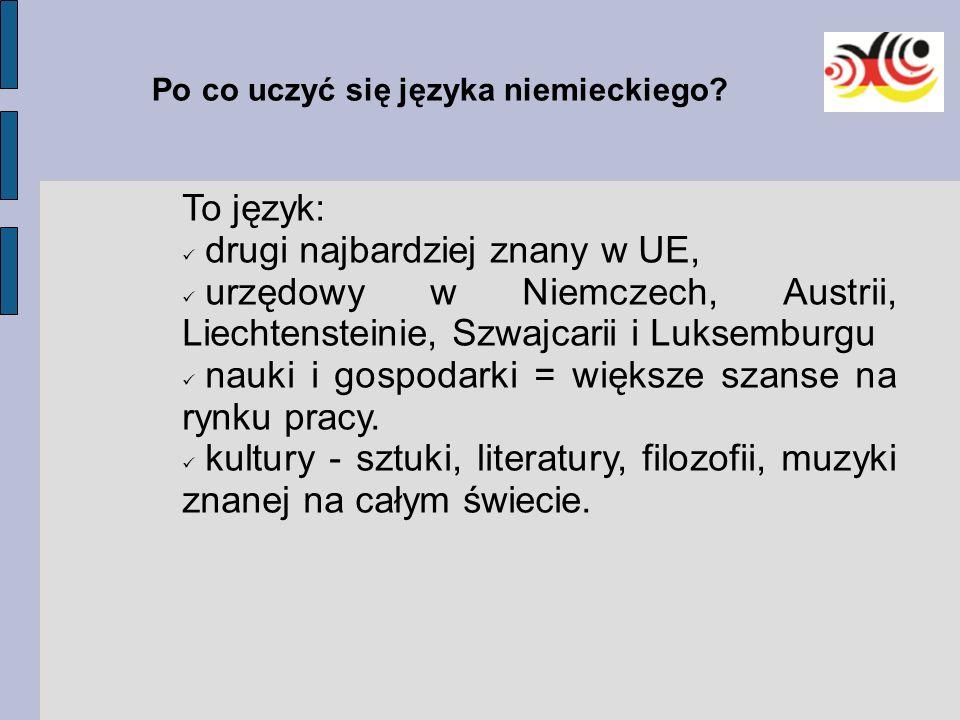 Po co uczyć się języka niemieckiego? To język: drugi najbardziej znany w UE, urzędowy w Niemczech, Austrii, Liechtensteinie, Szwajcarii i Luksemburgu
