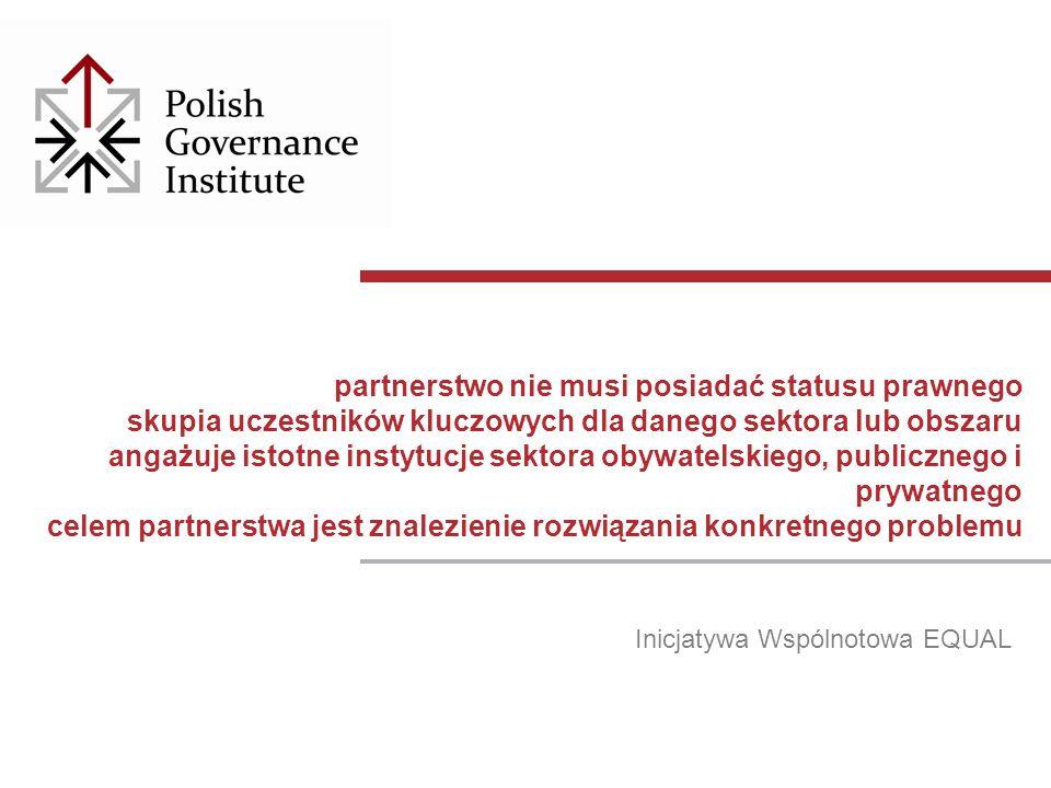partnerstwo nie musi posiadać statusu prawnego skupia uczestników kluczowych dla danego sektora lub obszaru angażuje istotne instytucje sektora obywatelskiego, publicznego i prywatnego celem partnerstwa jest znalezienie rozwiązania konkretnego problemu Inicjatywa Wspólnotowa EQUAL