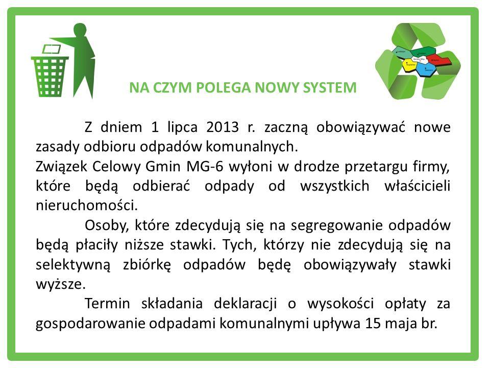 NA CZYM POLEGA NOWY SYSTEM Z dniem 1 lipca 2013 r. zaczną obowiązywać nowe zasady odbioru odpadów komunalnych. Związek Celowy Gmin MG-6 wyłoni w drodz