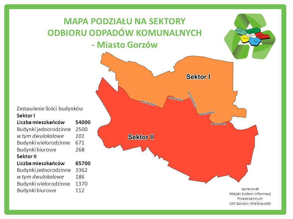 opracował Miejski System Informacji Przestrzennych UM Gorzów Wielkopolski Zestawienie ilości budynków Sektor I Liczba mieszkańców54000 Budynki jednoro
