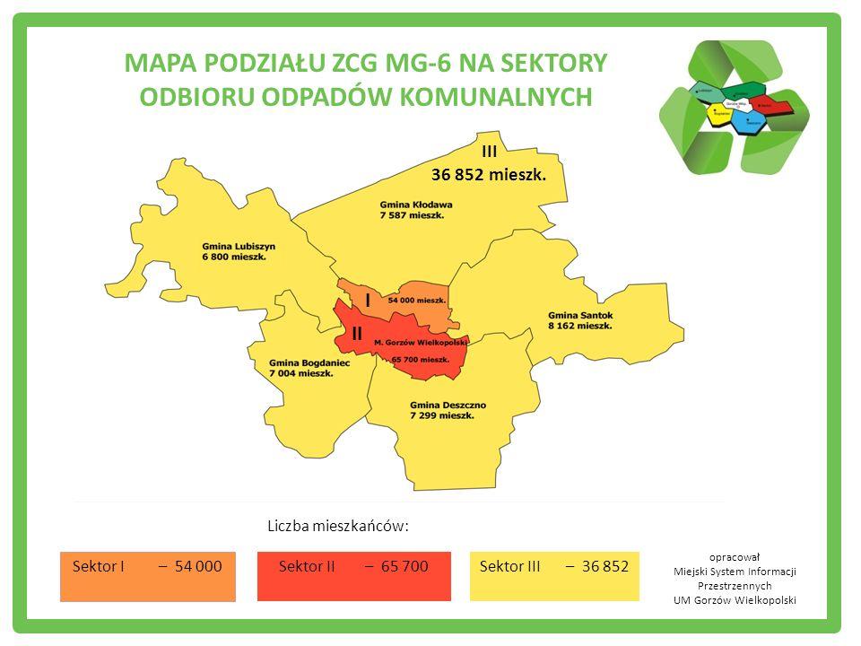 Liczba mieszkańców: III 36 852 mieszk. I II Sektor I – 54 000 Sektor II– 65 700Sektor III – 36 852 opracował Miejski System Informacji Przestrzennych