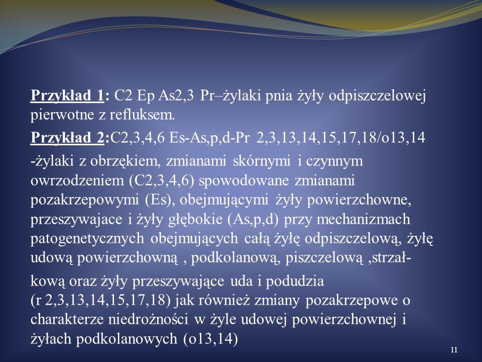 Przykład 1: C2 Ep As2,3 Pr–żylaki pnia żyły odpiszczelowej pierwotne z refluksem. Przykład 2:C2,3,4,6 Es-As,p,d-Pr 2,3,13,14,15,17,18/o13,14 -żylaki z