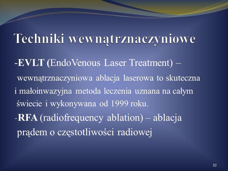 -EVLT (EndoVenous Laser Treatment) – wewnątrznaczyniowa ablacja laserowa to skuteczna i małoinwazyjna metoda leczenia uznana na całym świecie i wykony