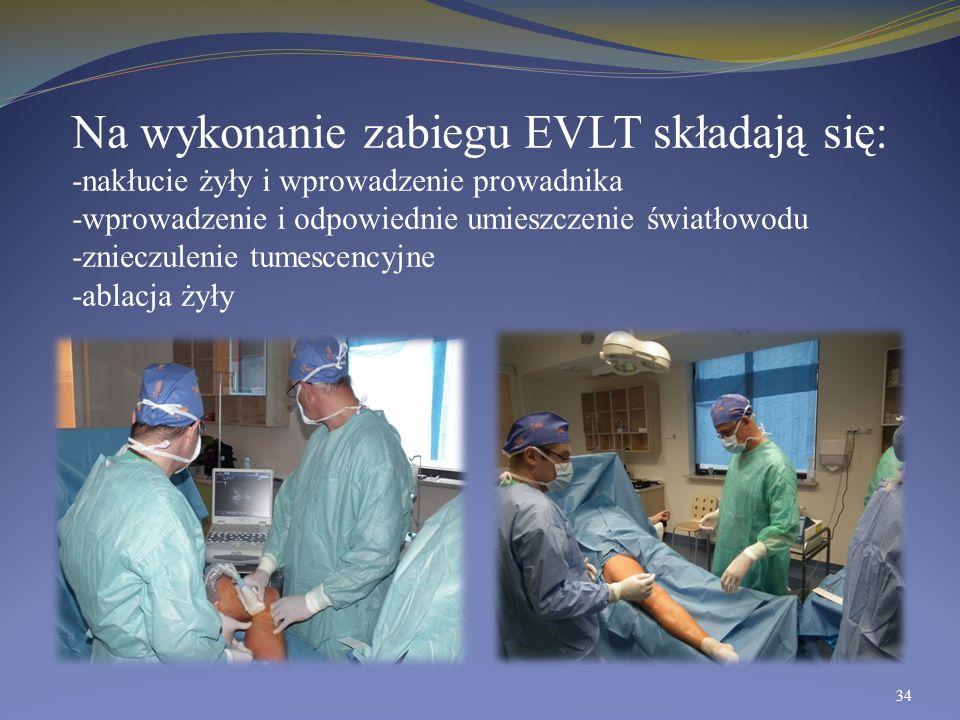 Na wykonanie zabiegu EVLT składają się: -nakłucie żyły i wprowadzenie prowadnika -wprowadzenie i odpowiednie umieszczenie światłowodu -znieczulenie tu