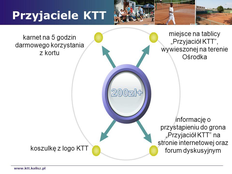 Przyjaciele KTT miejsce na tablicy Przyjaciół KTT, wywieszonej na terenie Ośrodka karnet na 5 godzin darmowego korzystania z kortu informację o przyst