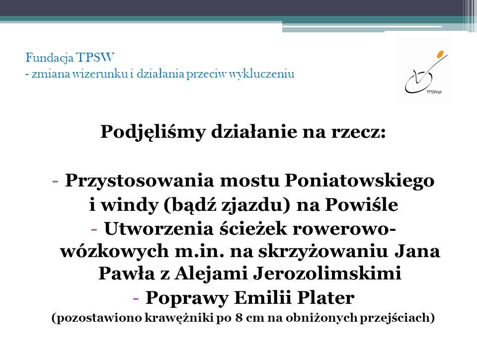 Fundacja TPSW - zmiana wizerunku i dzia ł ania przeciw wykluczeniu Podjęliśmy działanie na rzecz: -Przystosowania mostu Poniatowskiego i windy (bądź z