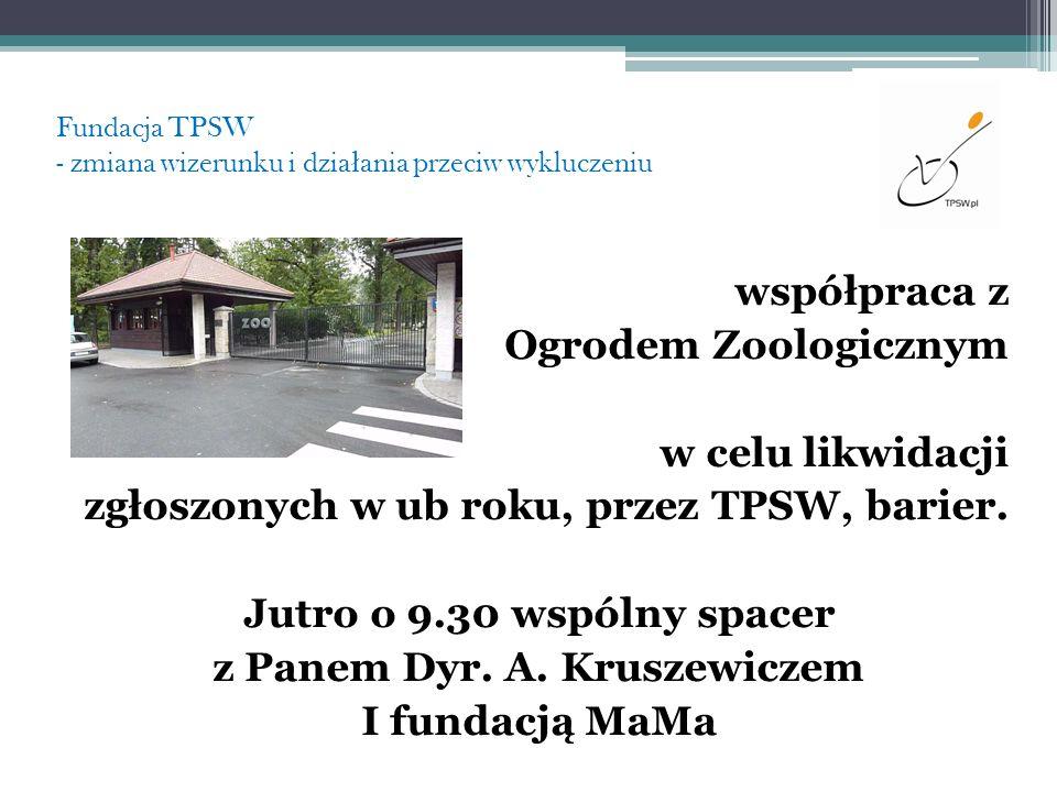 Fundacja TPSW - zmiana wizerunku i dzia ł ania przeciw wykluczeniu współpraca z Ogrodem Zoologicznym w celu likwidacji zgłoszonych w ub roku, przez TP