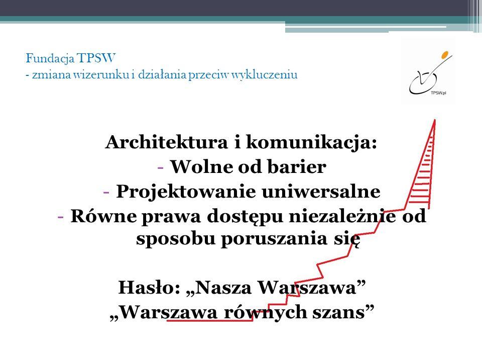 Fundacja TPSW - zmiana wizerunku i dzia ł ania przeciw wykluczeniu Architektura i komunikacja: -Wolne od barier -Projektowanie uniwersalne -Równe praw