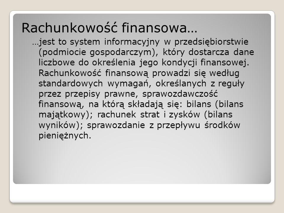 Rachunkowość finansowa… …jest to system informacyjny w przedsiębiorstwie (podmiocie gospodarczym), który dostarcza dane liczbowe do określenia jego ko
