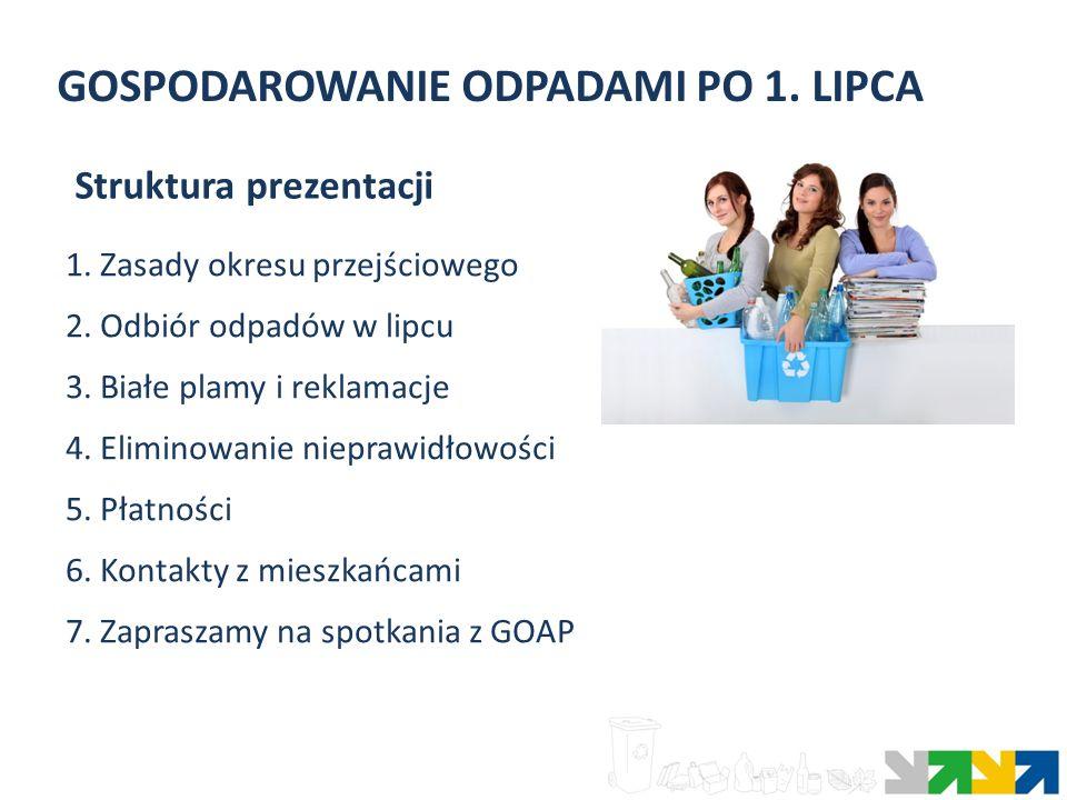 GOSPODAROWANIE ODPADAMI PO 1. LIPCA 1. Zasady okresu przejściowego 2. Odbiór odpadów w lipcu 3. Białe plamy i reklamacje 4. Eliminowanie nieprawidłowo