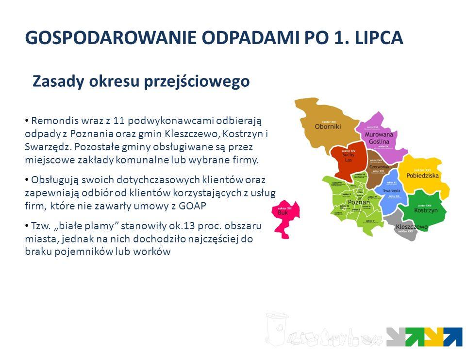 GOSPODAROWANIE ODPADAMI PO 1. LIPCA Remondis wraz z 11 podwykonawcami odbierają odpady z Poznania oraz gmin Kleszczewo, Kostrzyn i Swarzędz. Pozostałe