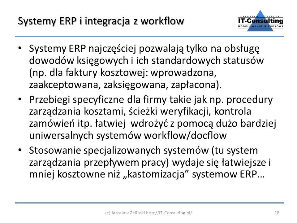 Systemy ERP i integracja z workflow Systemy ERP najczęściej pozwalają tylko na obsługę dowodów księgowych i ich standardowych statusów (np. dla faktur