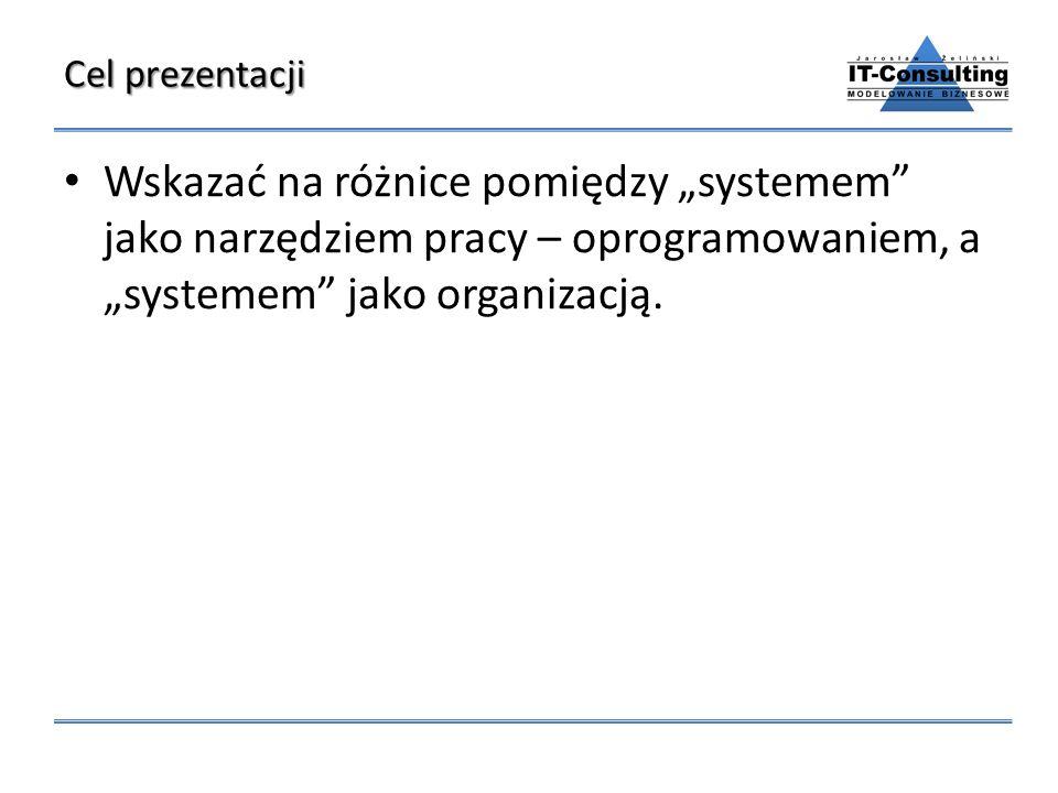 Cel prezentacji Wskazać na różnice pomiędzy systemem jako narzędziem pracy – oprogramowaniem, a systemem jako organizacją.