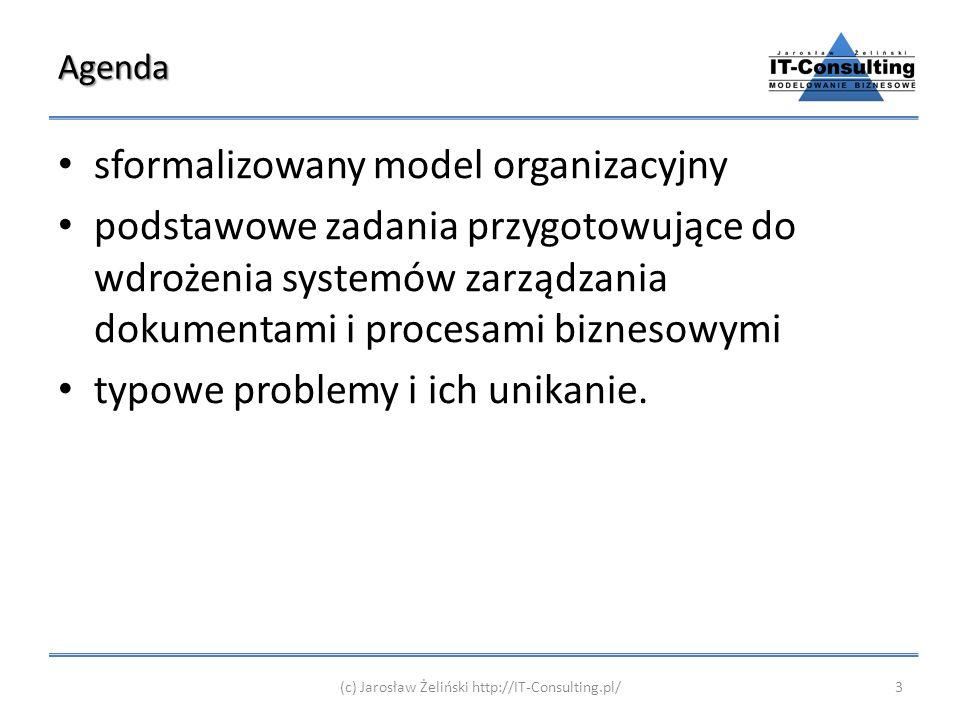 Agenda sformalizowany model organizacyjny podstawowe zadania przygotowujące do wdrożenia systemów zarządzania dokumentami i procesami biznesowymi typo