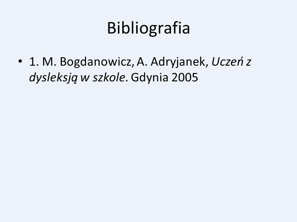 Bibliografia 1. M. Bogdanowicz, A. Adryjanek, Uczeń z dysleksją w szkole. Gdynia 2005