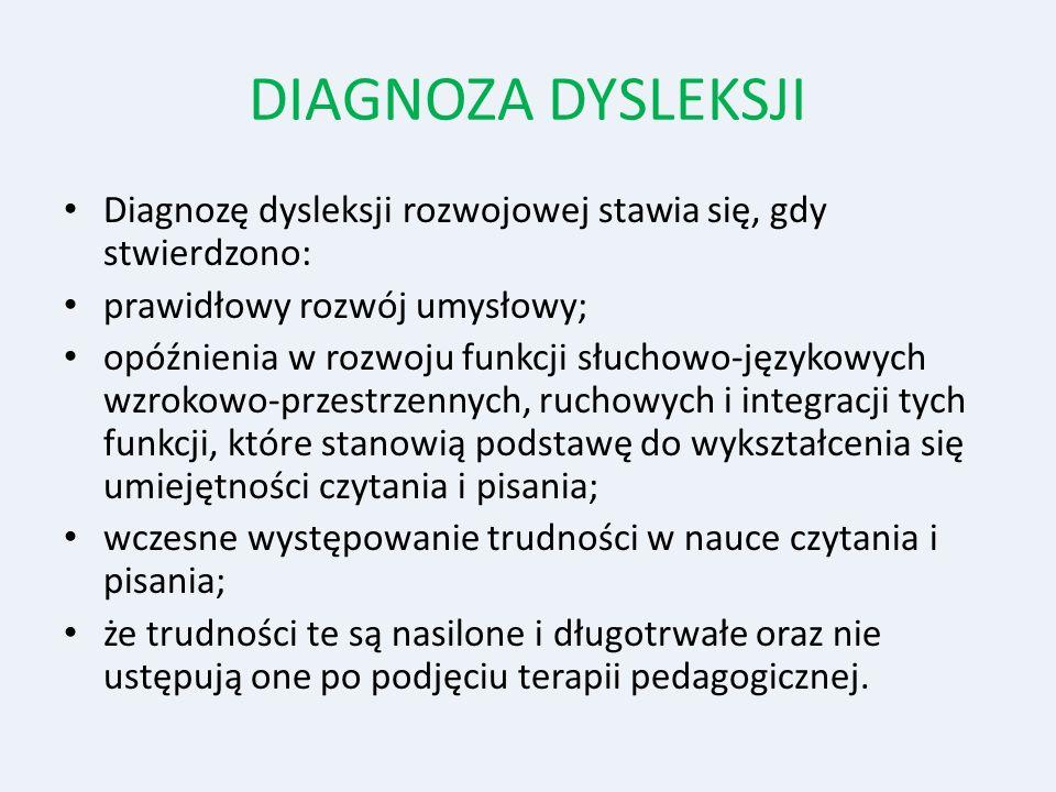 DIAGNOZA DYSLEKSJI Diagnozę dysleksji rozwojowej stawia się, gdy stwierdzono: prawidłowy rozwój umysłowy; opóźnienia w rozwoju funkcji słuchowo-języko