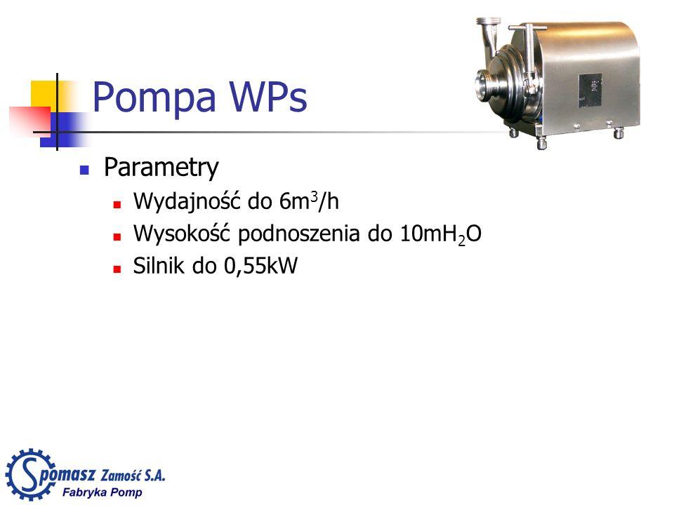 Parametry Wydajność do 6m 3 /h Wysokość podnoszenia do 10mH 2 O Silnik do 0,55kW Pompa WPs