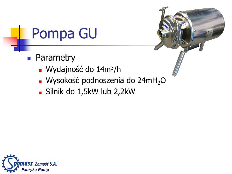Pompa GU Parametry Wydajność do 14m 3 /h Wysokość podnoszenia do 24mH 2 O Silnik do 1,5kW lub 2,2kW