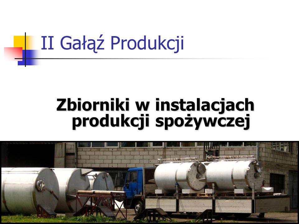 II Gałąź Produkcji Zbiorniki w instalacjach produkcji spożywczej