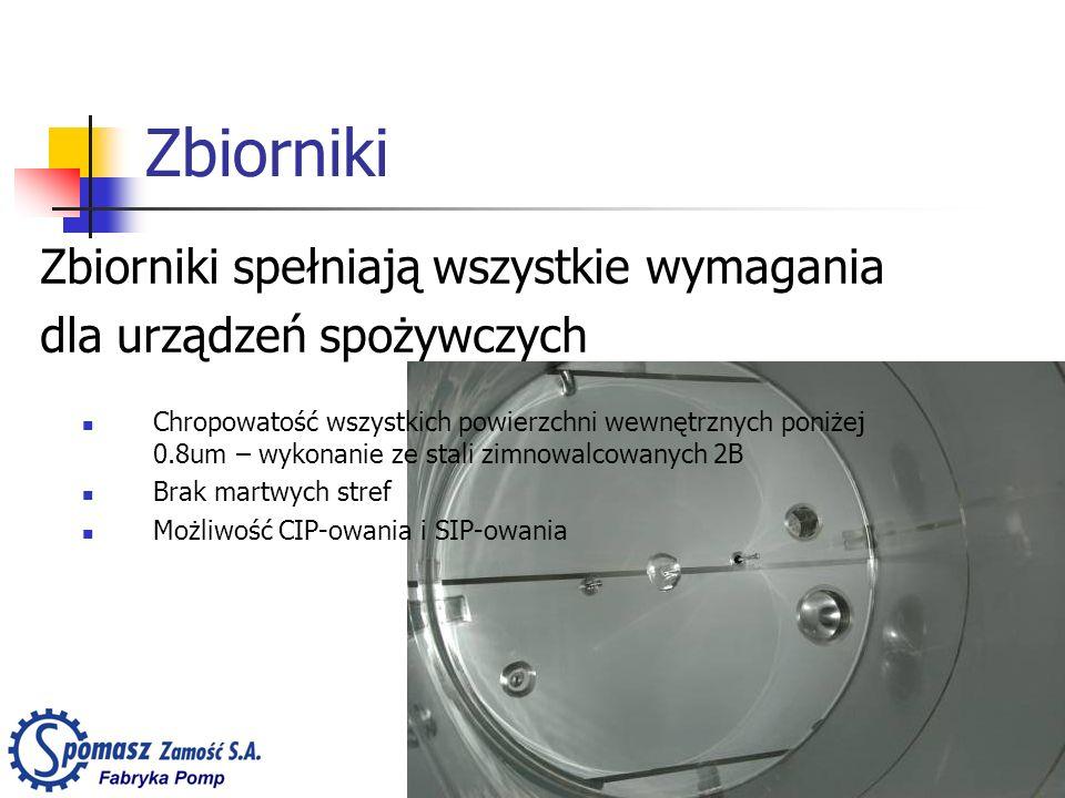 Zbiorniki Zbiorniki spełniają wszystkie wymagania dla urządzeń spożywczych Chropowatość wszystkich powierzchni wewnętrznych poniżej 0.8um – wykonanie ze stali zimnowalcowanych 2B Brak martwych stref Możliwość CIP-owania i SIP-owania