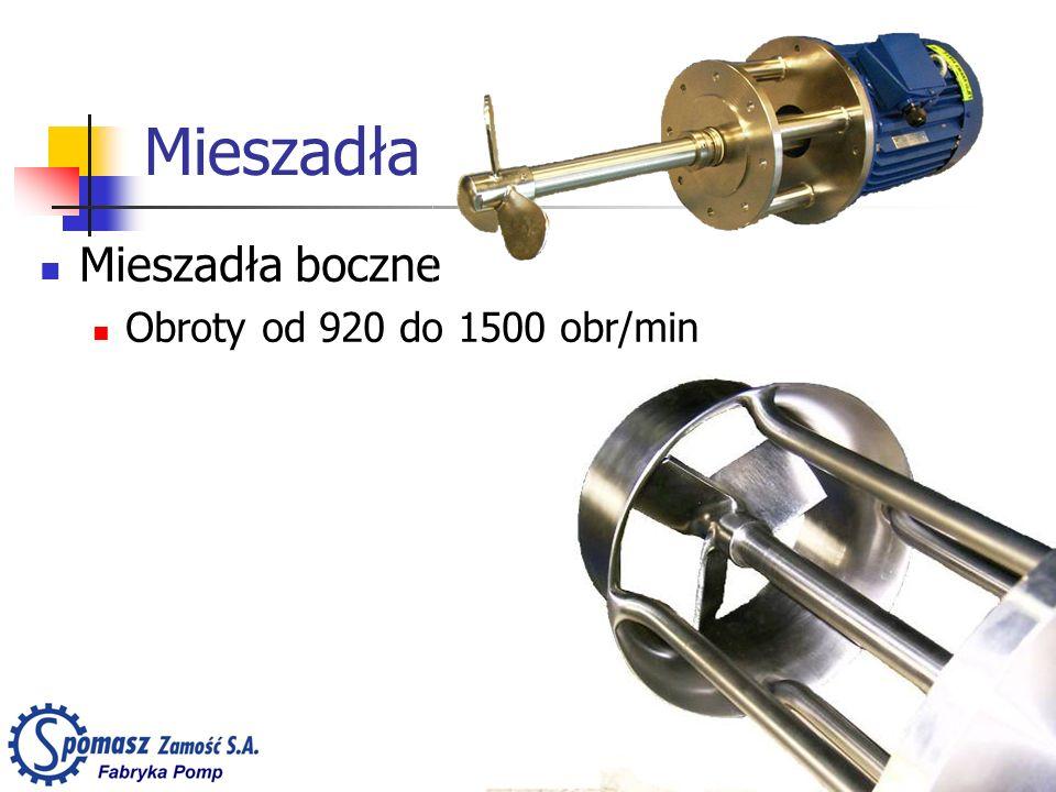 Mieszadła Mieszadła boczne Obroty od 920 do 1500 obr/min