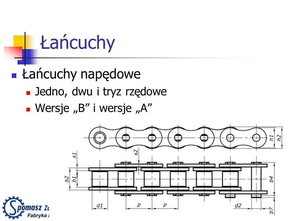 Łańcuchy Łańcuchy napędowe Jedno, dwu i tryz rzędowe Wersje B i wersje A