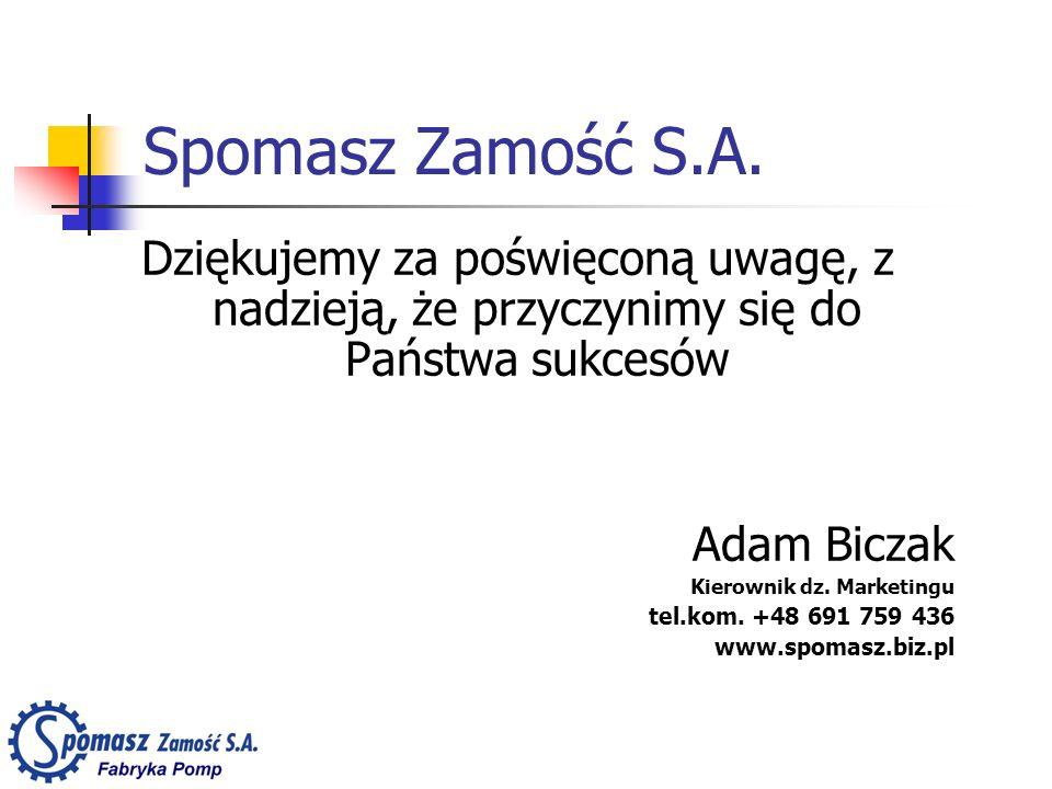 Spomasz Zamość S.A. Dziękujemy za poświęconą uwagę, z nadzieją, że przyczynimy się do Państwa sukcesów Adam Biczak Kierownik dz. Marketingu tel.kom. +