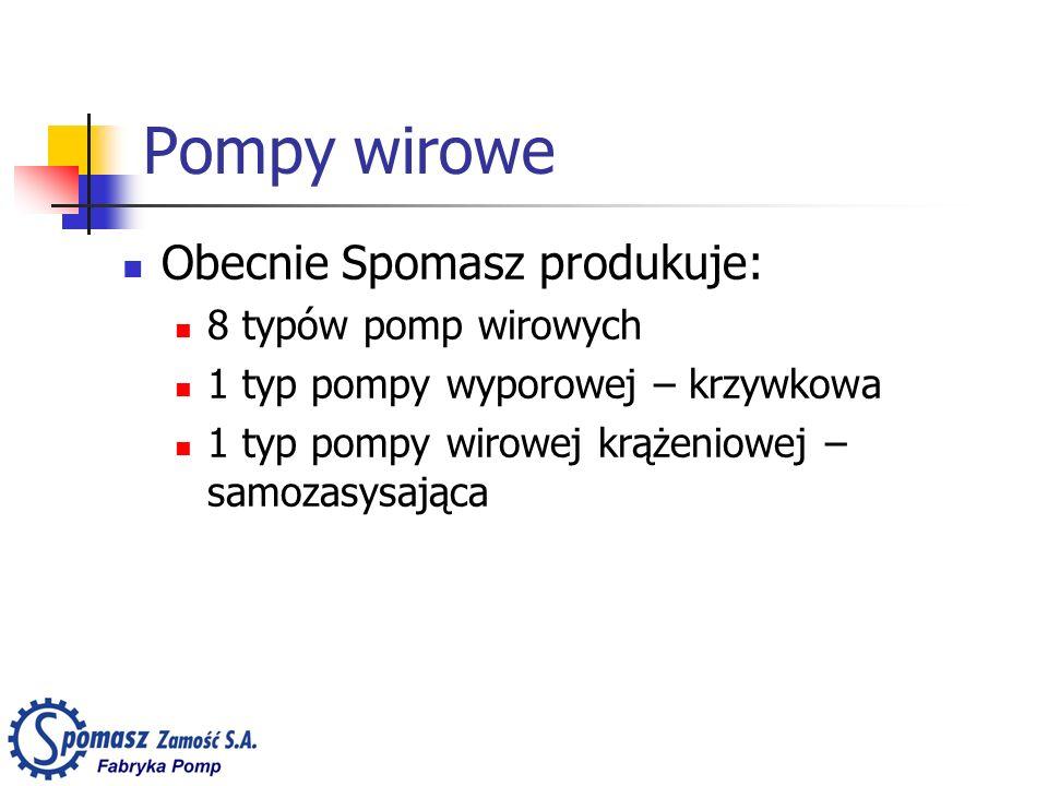Pompy wirowe Obecnie Spomasz produkuje: 8 typów pomp wirowych 1 typ pompy wyporowej – krzywkowa 1 typ pompy wirowej krążeniowej – samozasysająca
